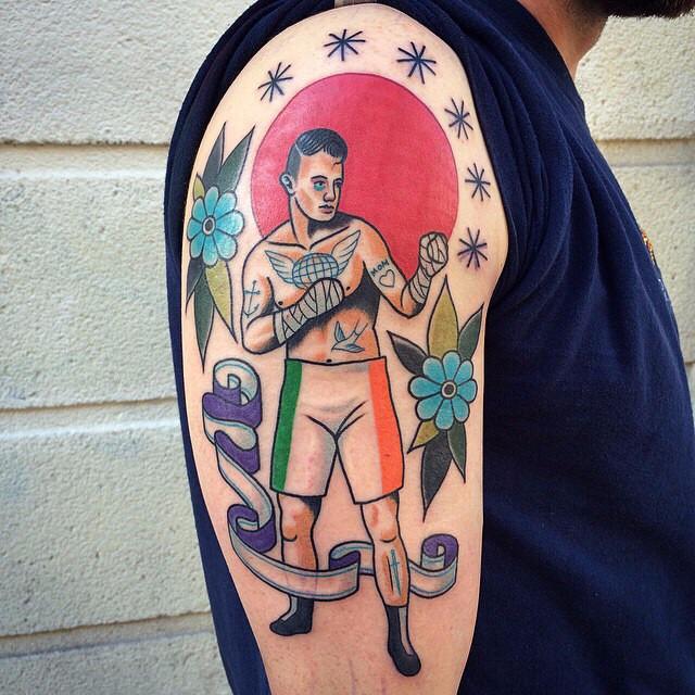 Sunset Inked Boxer tattoo on Shoulder
