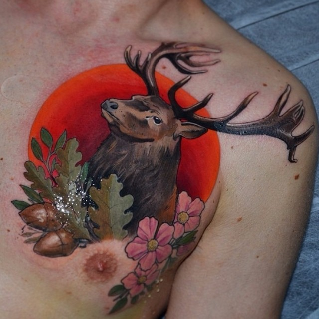 Sunset Stag Chest Tattoo