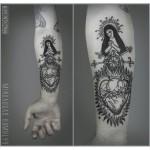 Thron Suffer Heart Tattoo on Arm
