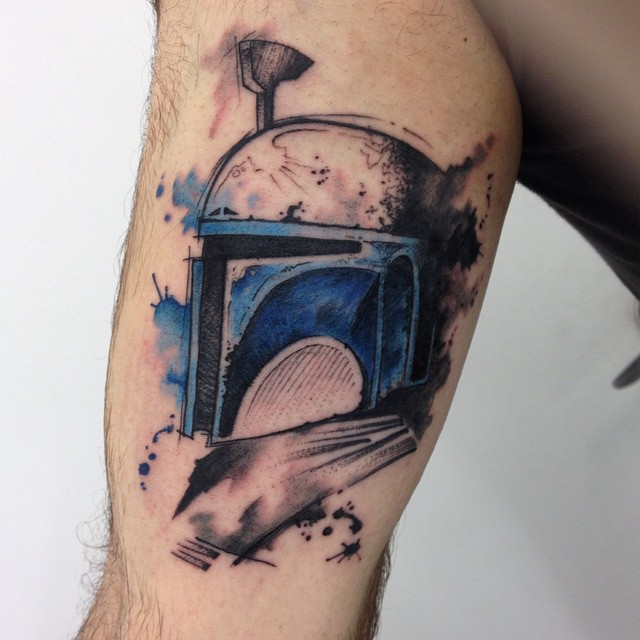 Watercolor Boba Fett Star Wars Tattoo on Leg