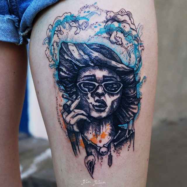 Watercolor Marla Singer Tattoo on Thigh