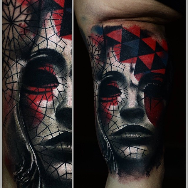 White Paint Face Tattoo on Arm