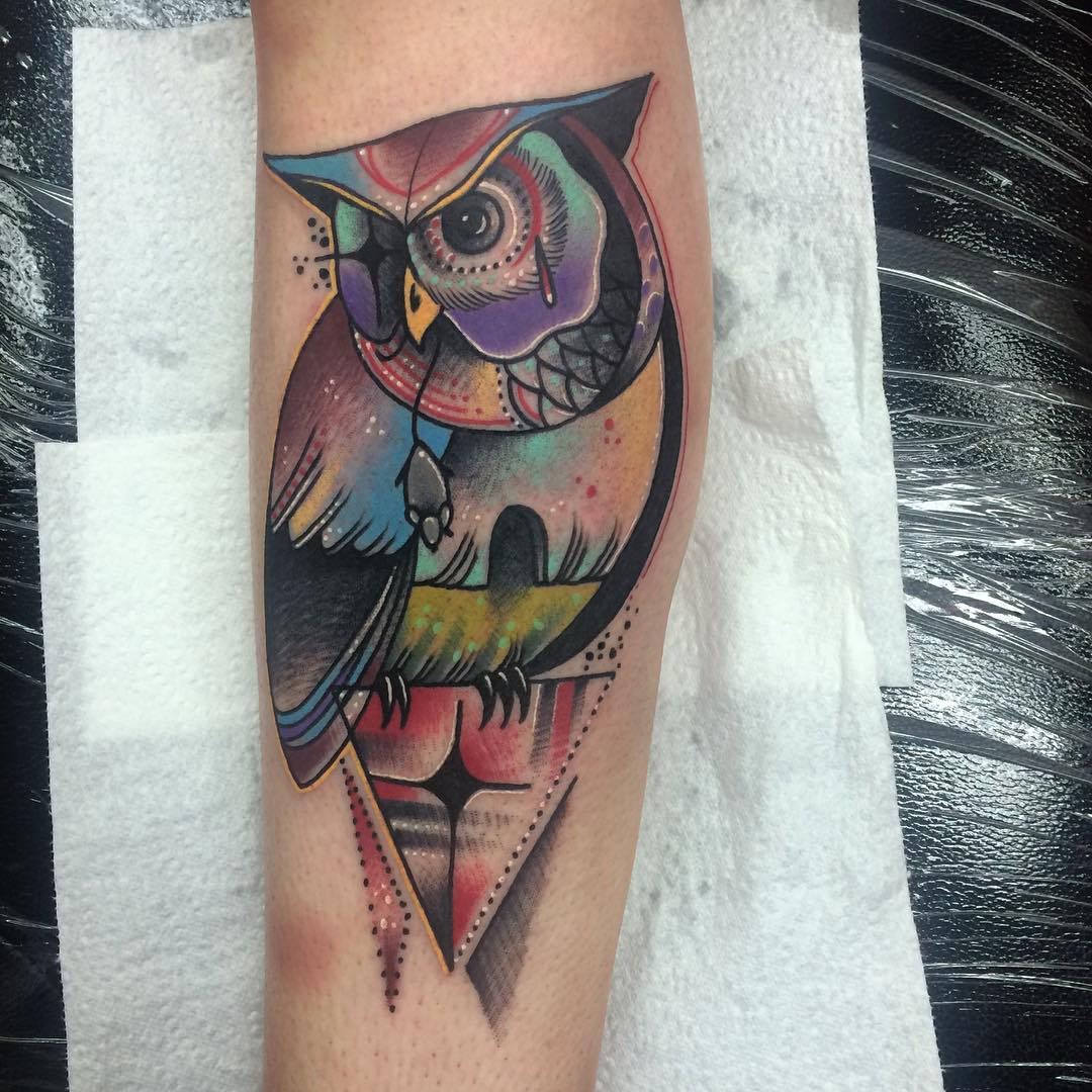 Abstract Reality Owl Tattoo