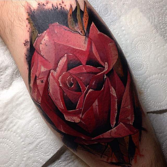 Animated Rose Tattoo on Leg