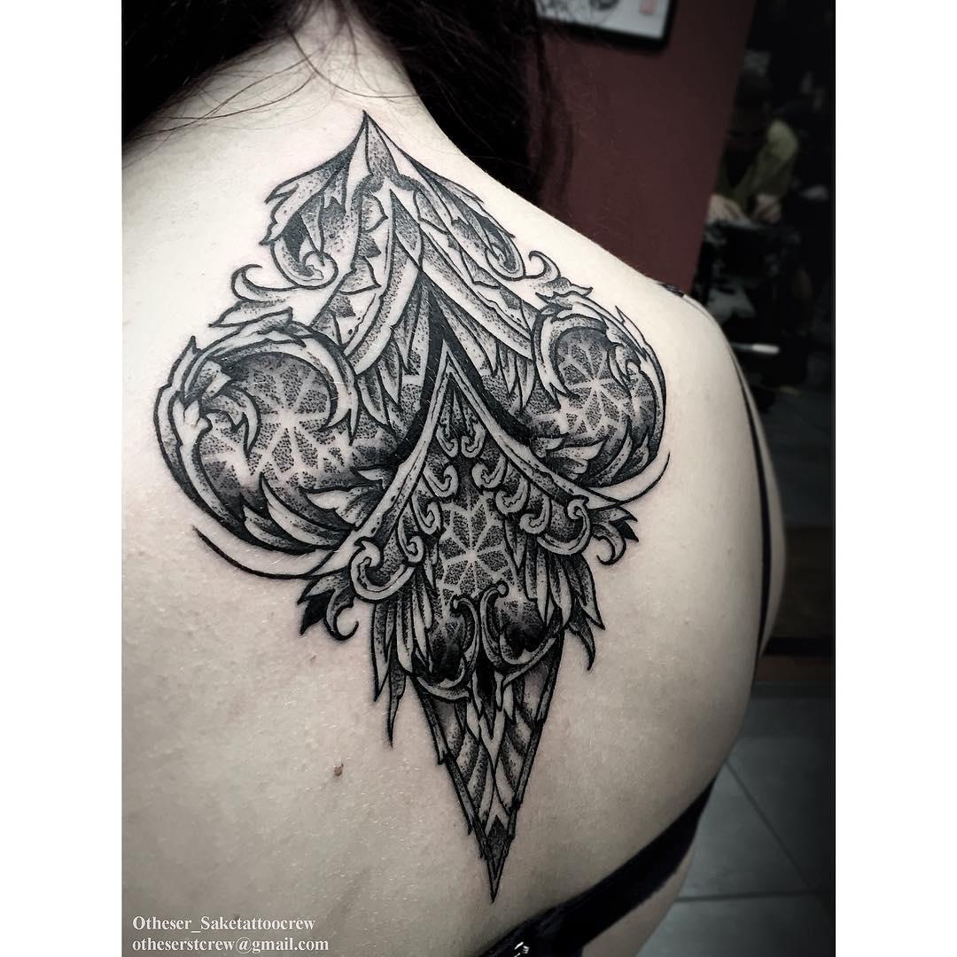 Back Dotwork Tattoo for Girl
