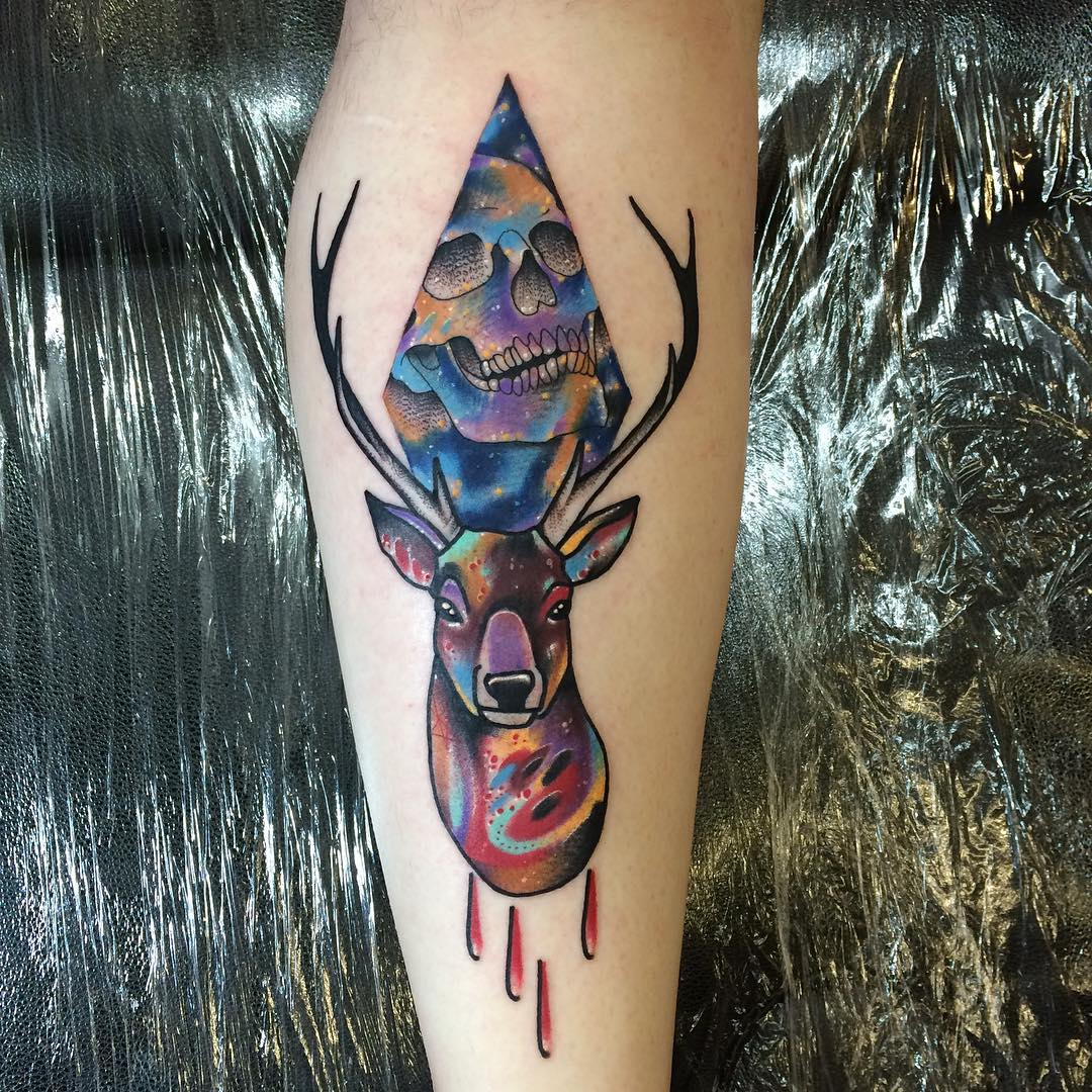 Blood Stag Skull Tattoo