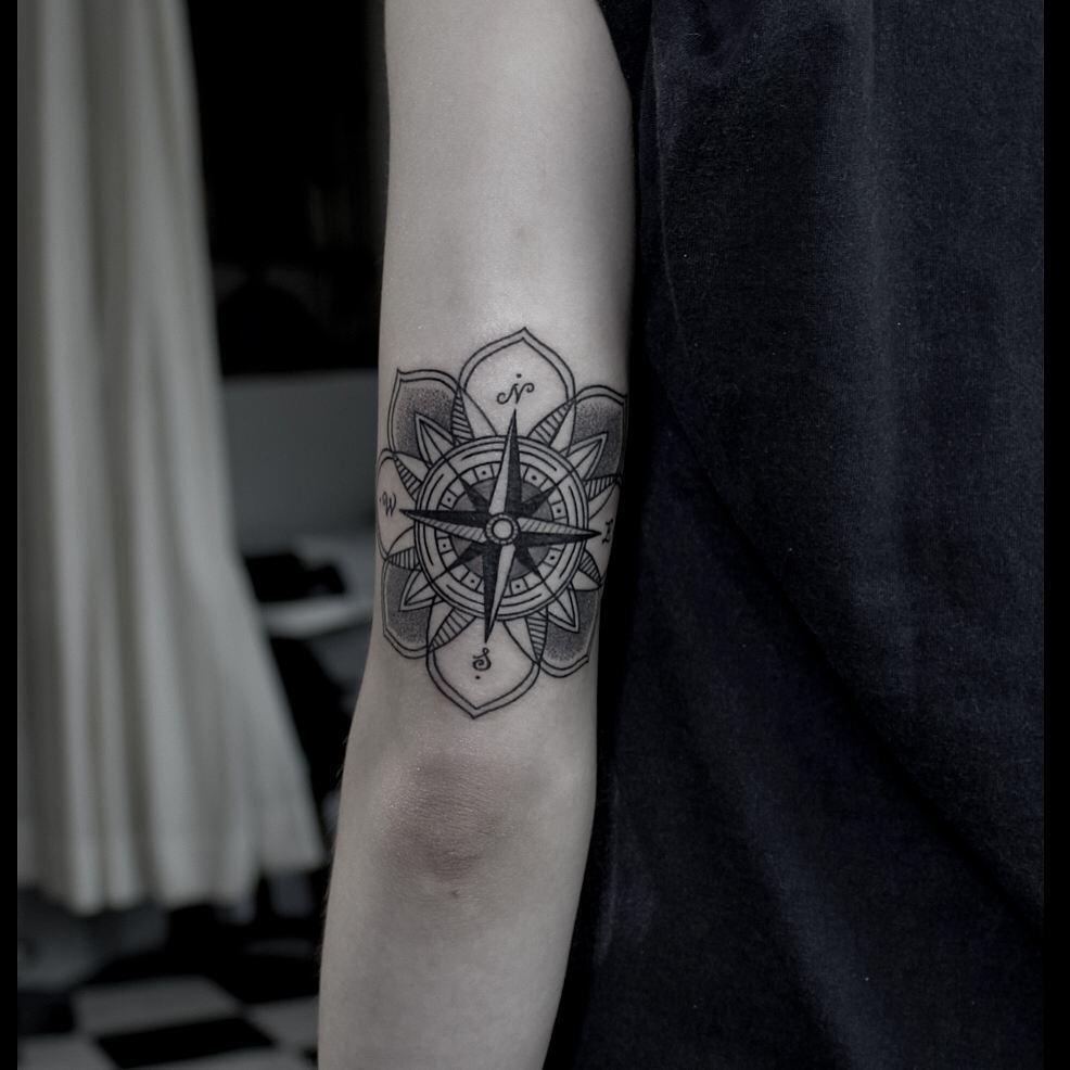 Compass Flower Tattoo on Arm