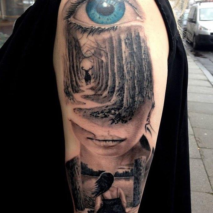 Cool Composition Tattoo on Shoulder