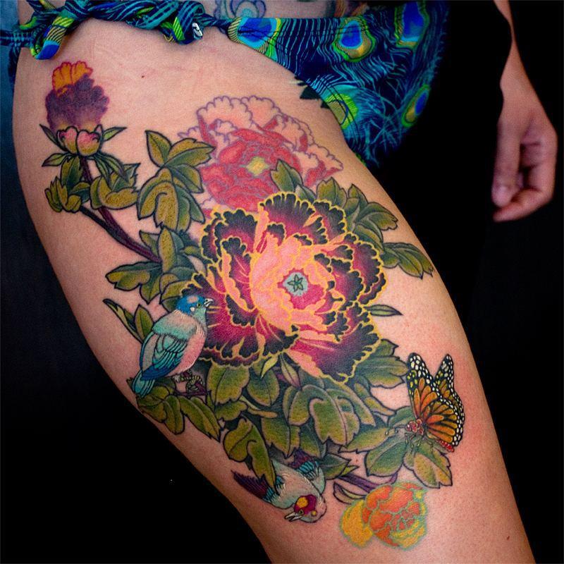 Flower Thigh Tattoos