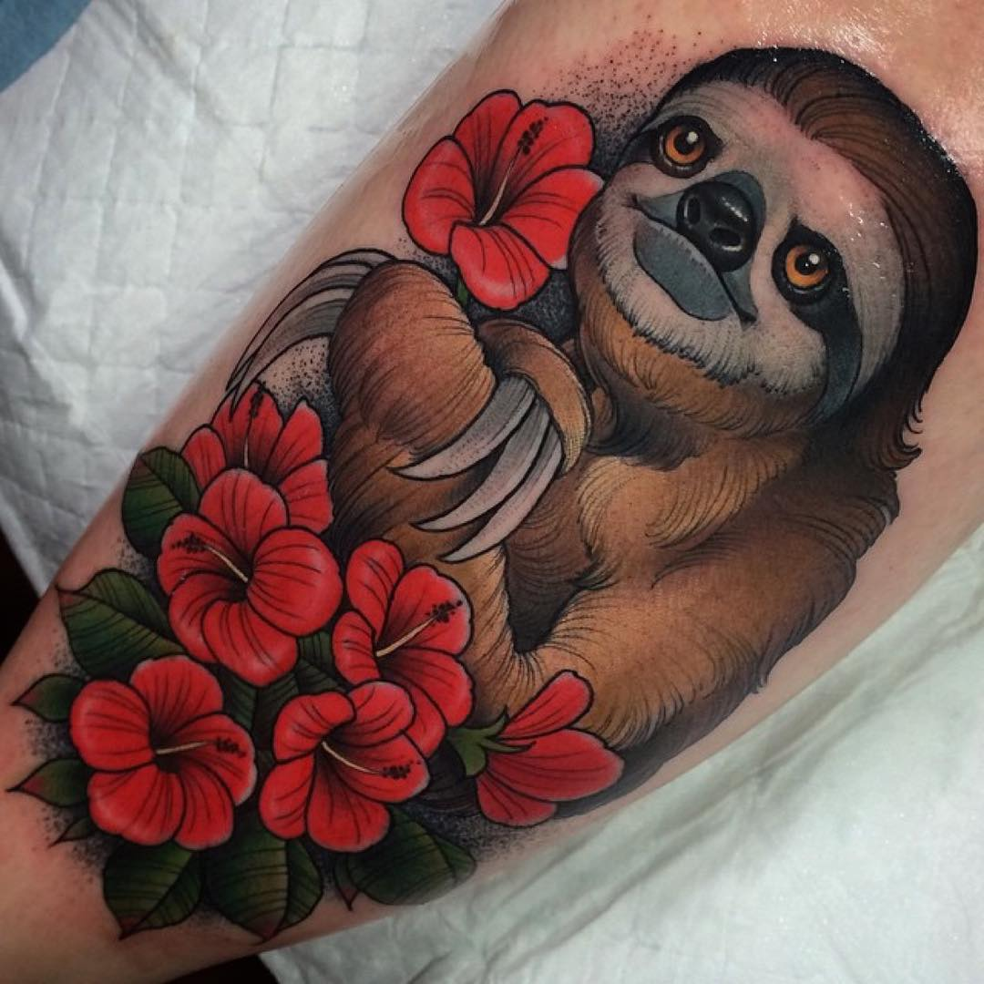 Flowers Sloth Tattoo