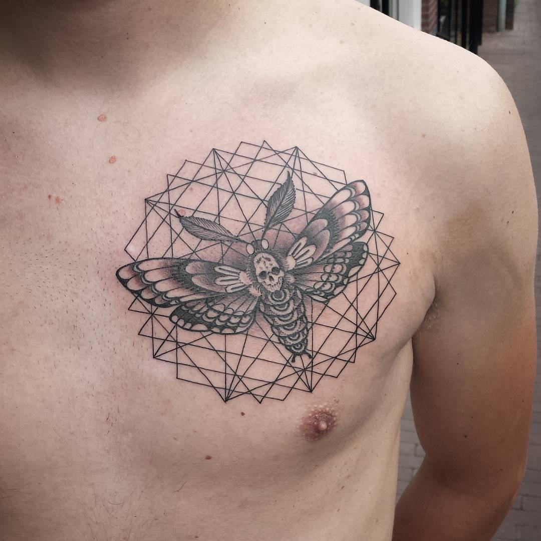 Geometry With Moth Tattoo on Chest