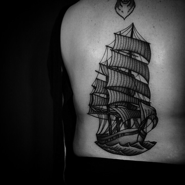 Graphic Sailing Ship Tattoo on Back