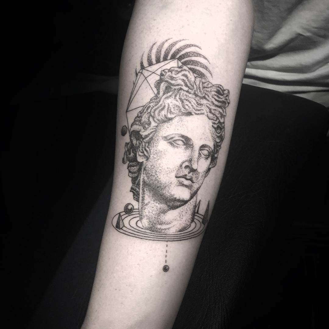 Greek Apollo Dotwork Tattoo