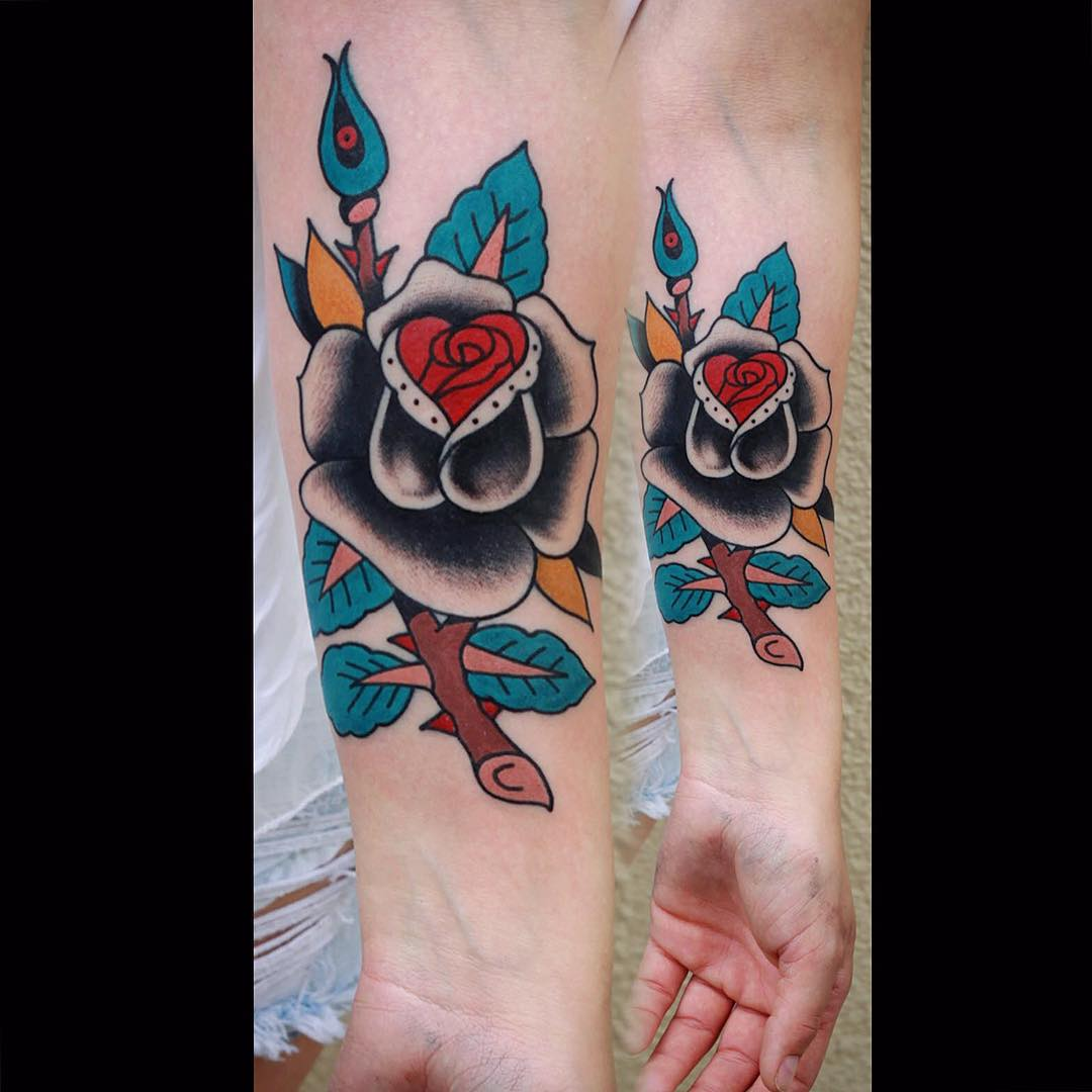 Grey Rose Tattoo on Arm