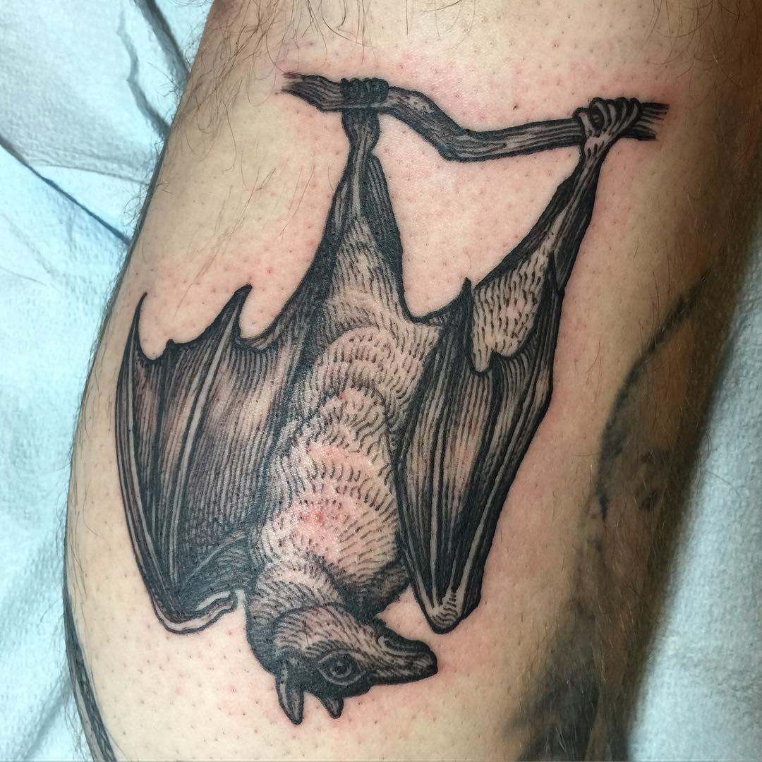 Hanging Bat Tattoo