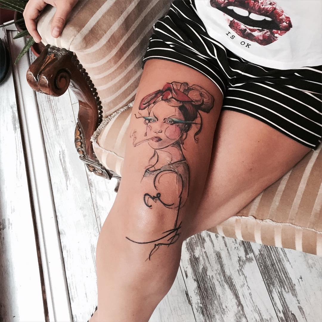 Last Century Girl Tattoo on Thigh