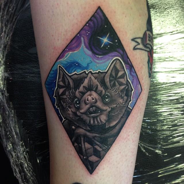 Leg Space Bat Tattoo