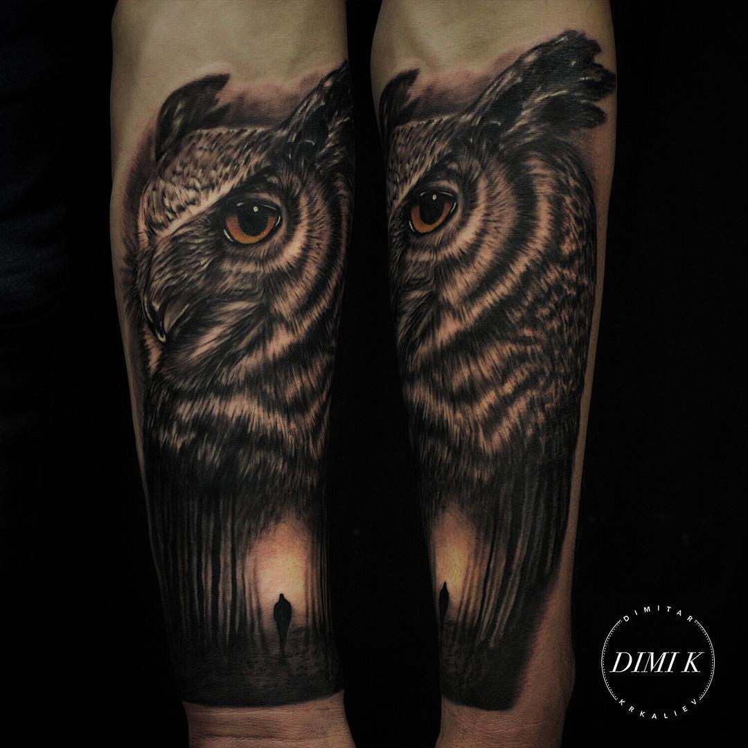 Lonely Forest Owl Tattoo