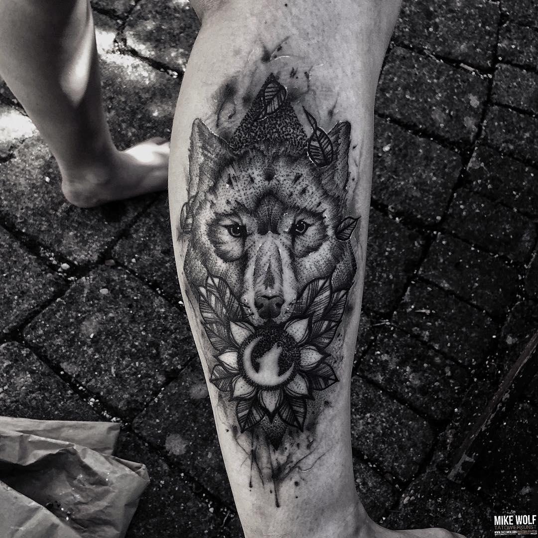 Moon Wolf Tattoo