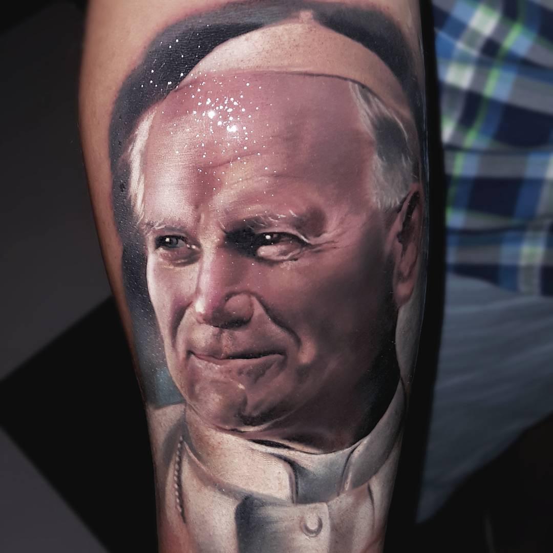 Realistic Pope Tattoo