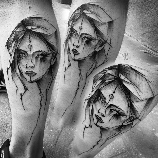 Sketchy Girl Tattoo on Leg