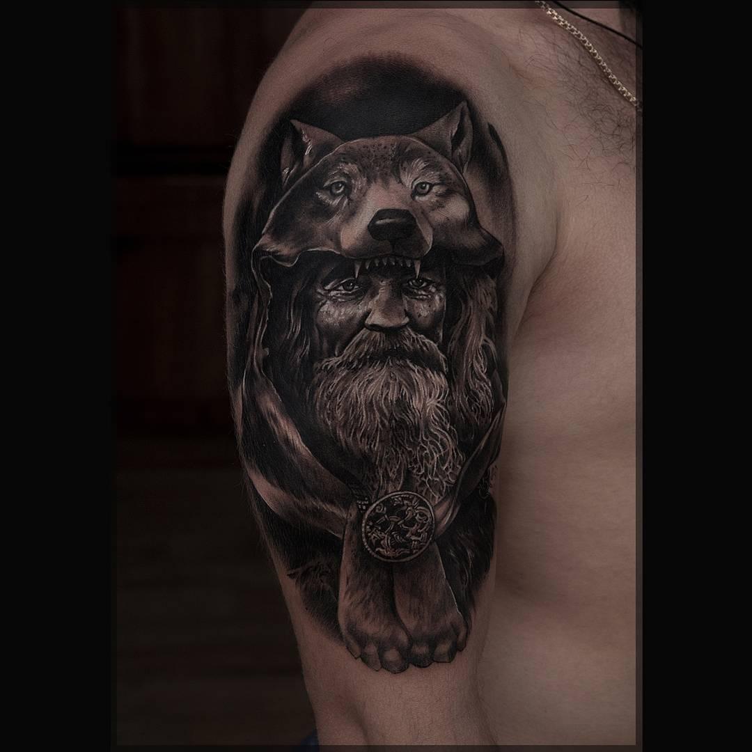 Wolf Druid Tattoo on Shoulder