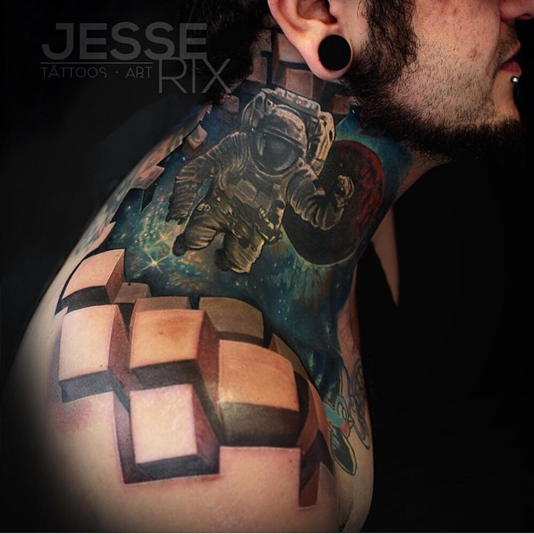 3D Space Tattoo on Neck