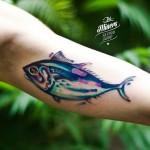 Blue Fish Tattoo on Arm