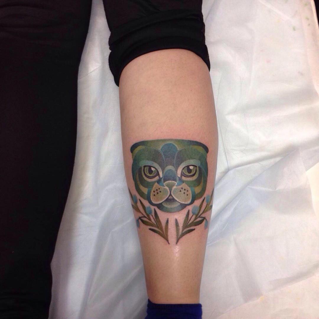 Calf Cat Face Tattoo