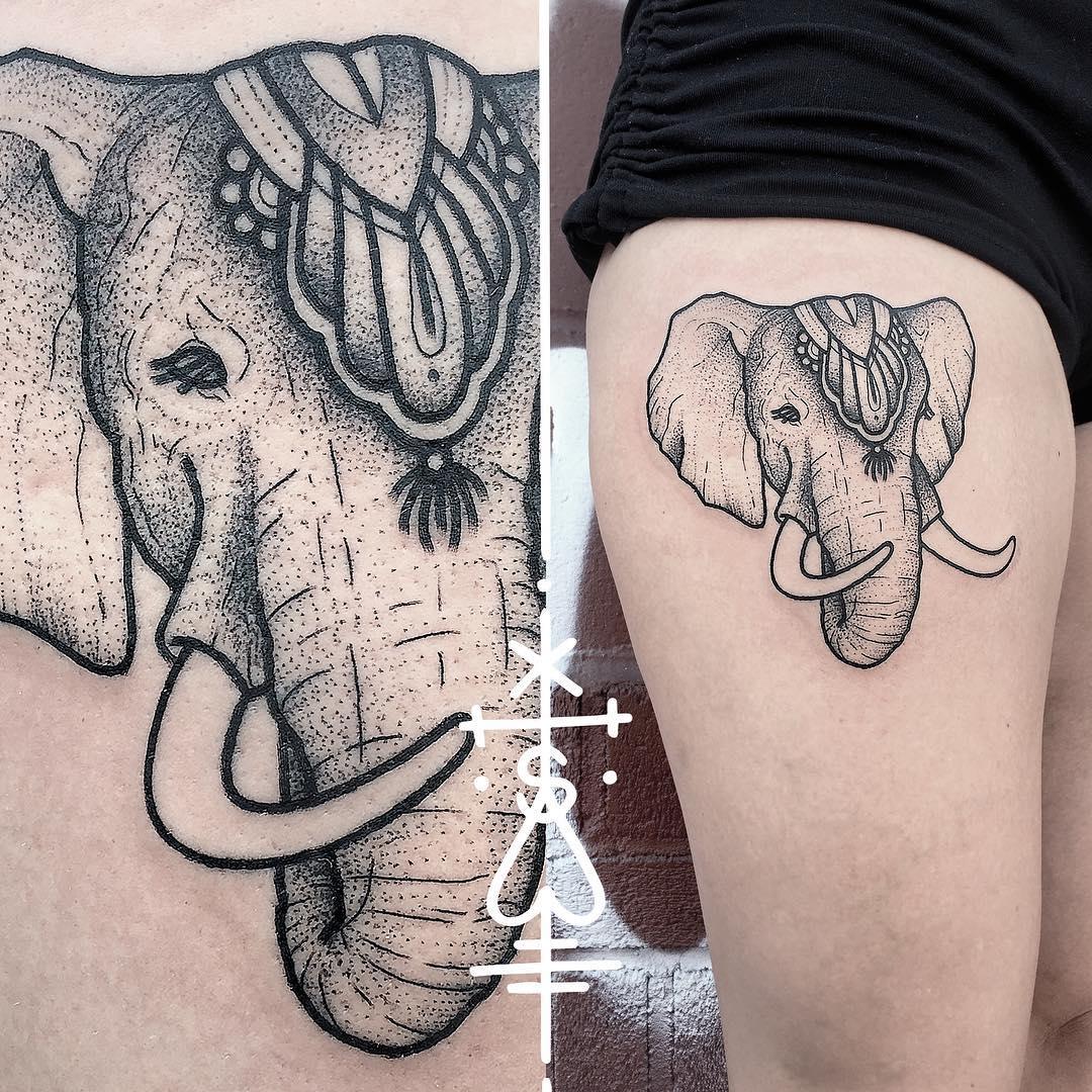 Circus Elephant Tattoo on Thigh