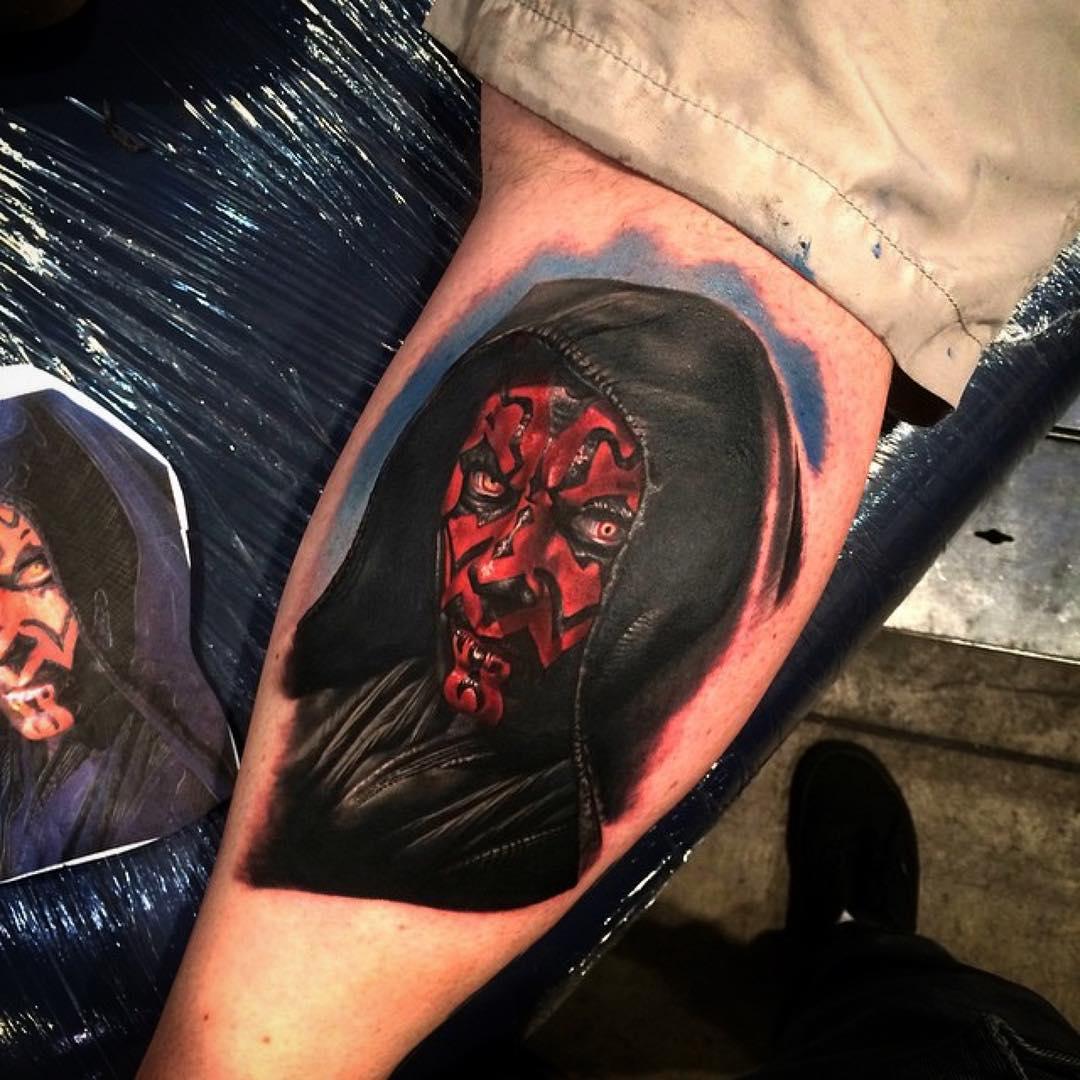 Darth Maul Tattoo on Calf