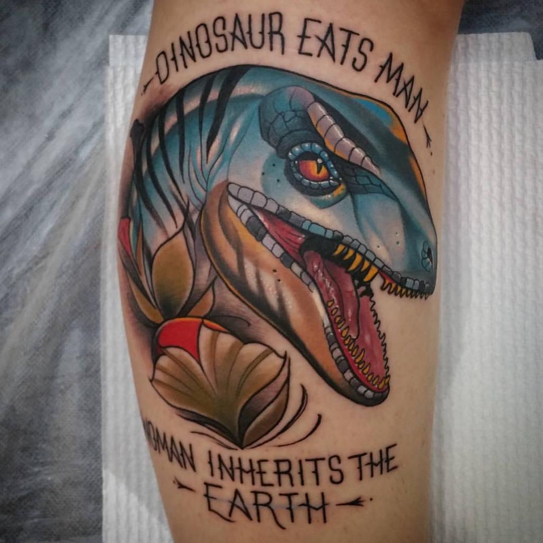 Dinosaur Tattoo on Calf
