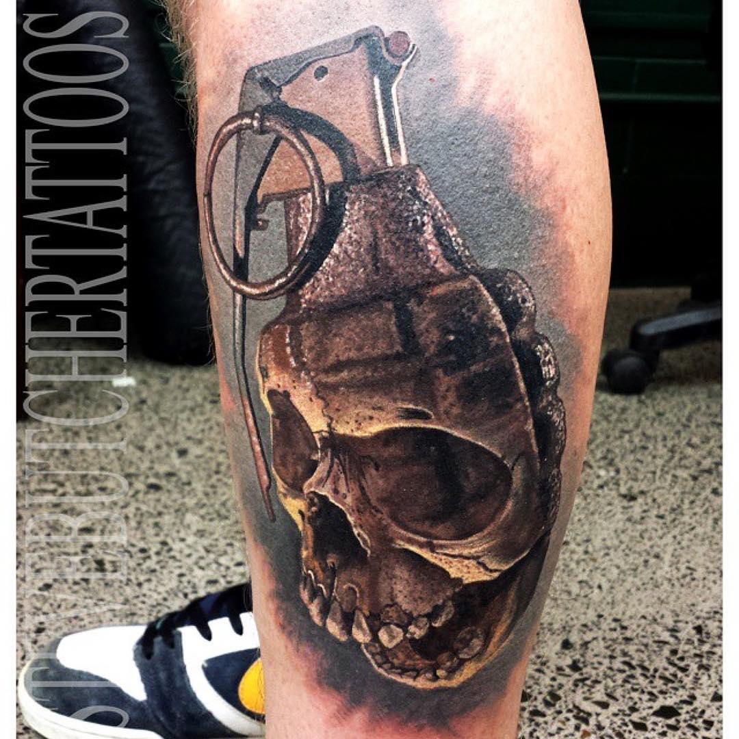 Grenade Skull Tattoo on Calf