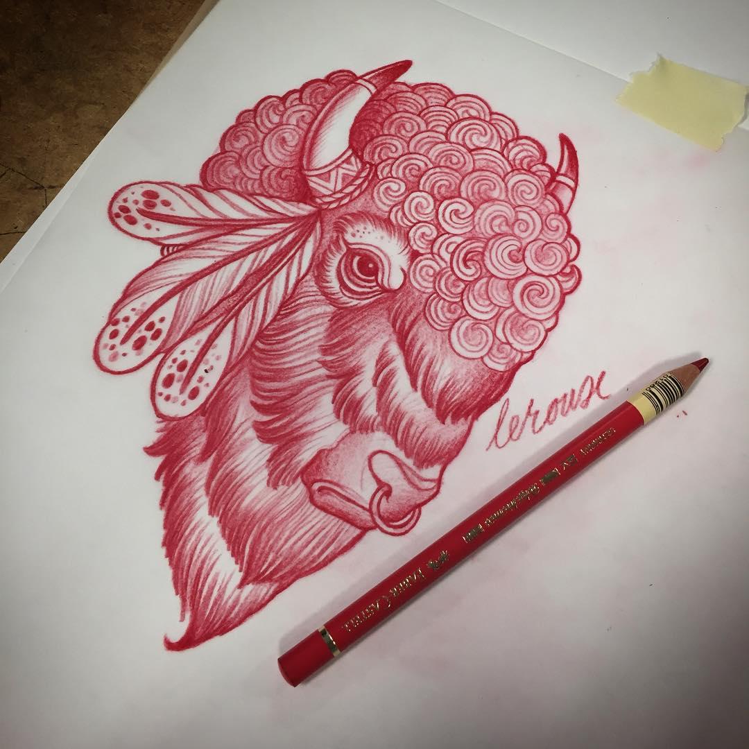 Indian Bison Tattoo Design