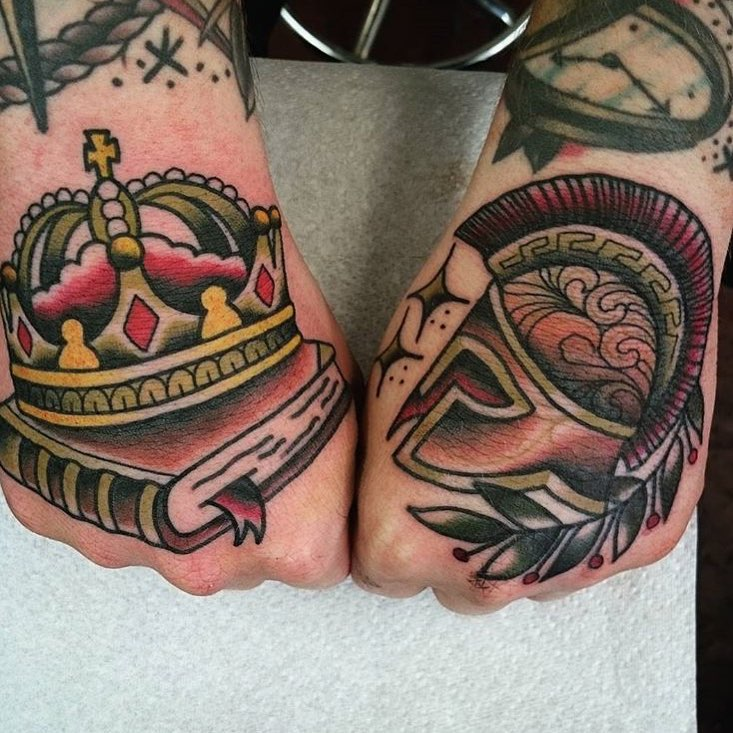 King and Warrior Tattoos on Hands
