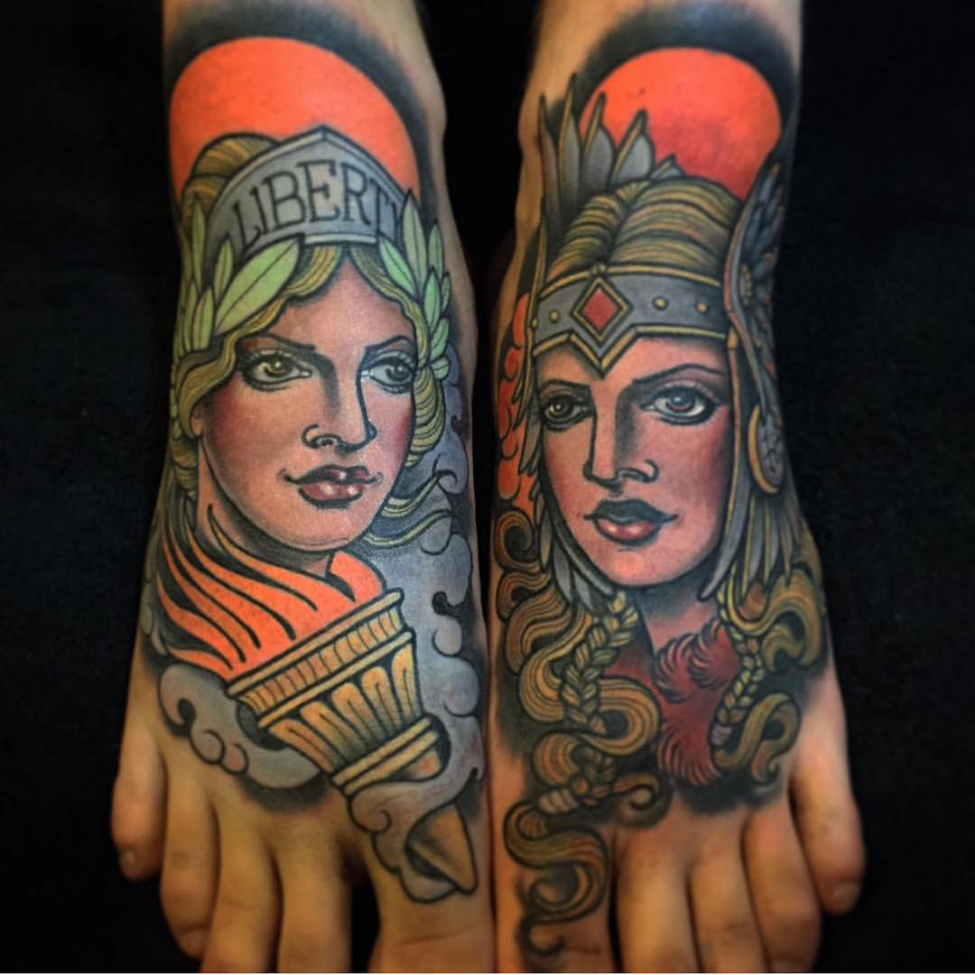 Neo Traditional Foot Tattoos