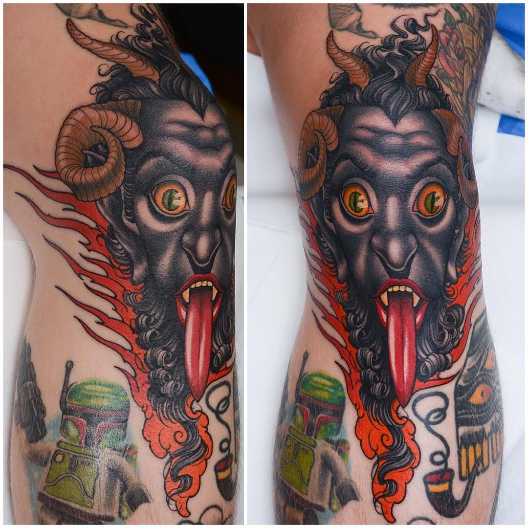 Satyr Tattoo on Knee