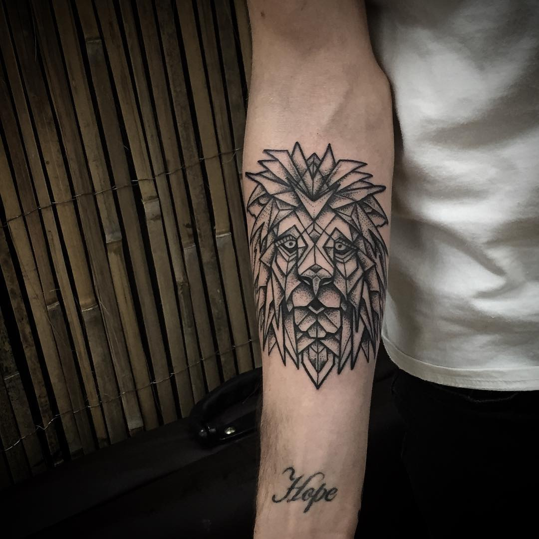 Symmetry Lion Tattoo on Arm