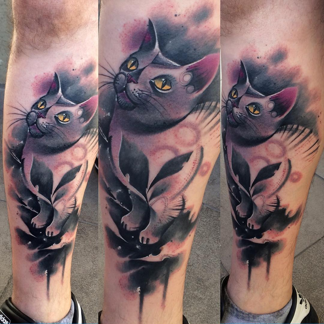 Violet Cat Tattoo on Leg