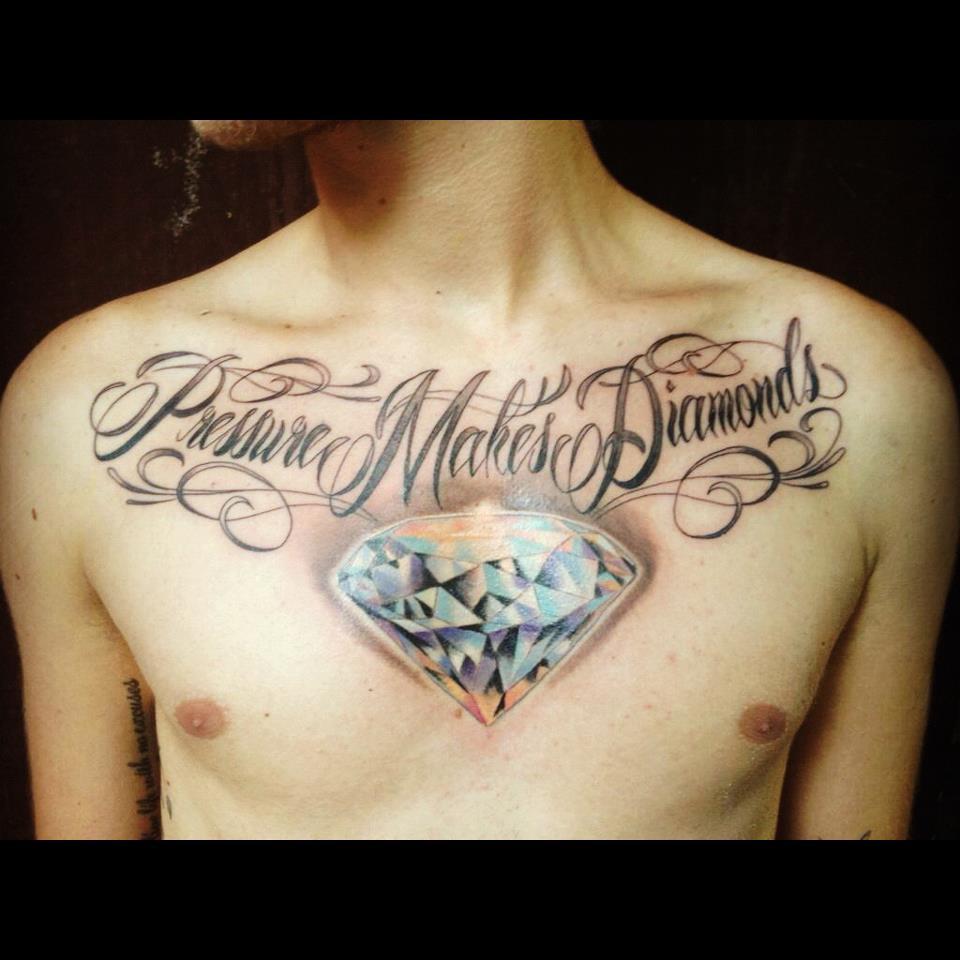 diamond tattoo on chest