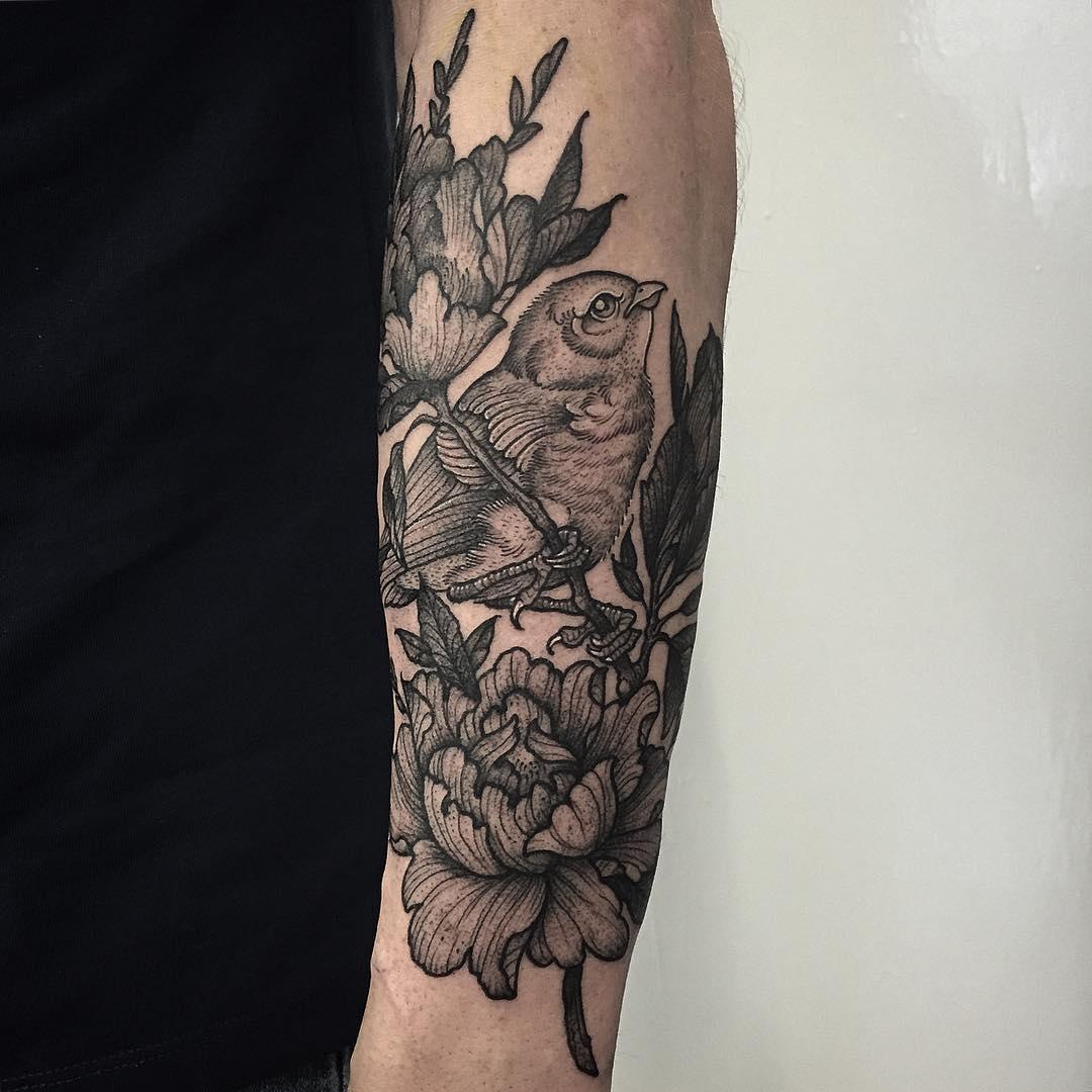 Bird and Fower Tattoos