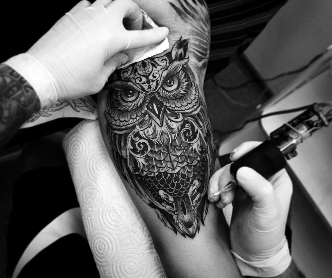 Black and Grey Owl Tattoo