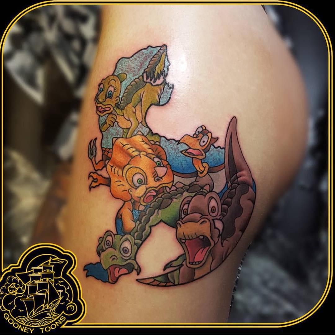 Cartoon Dinosaurs Tattoo