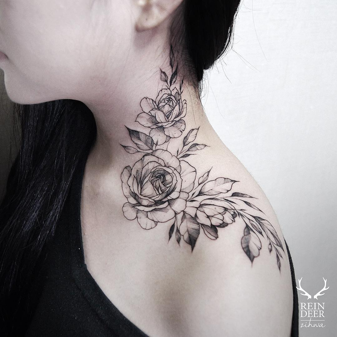 Rose Neck Tattoos