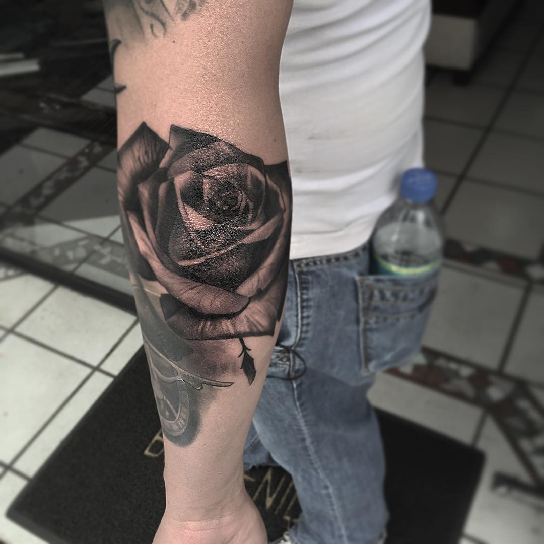 Rose Tattoo Black and Grey