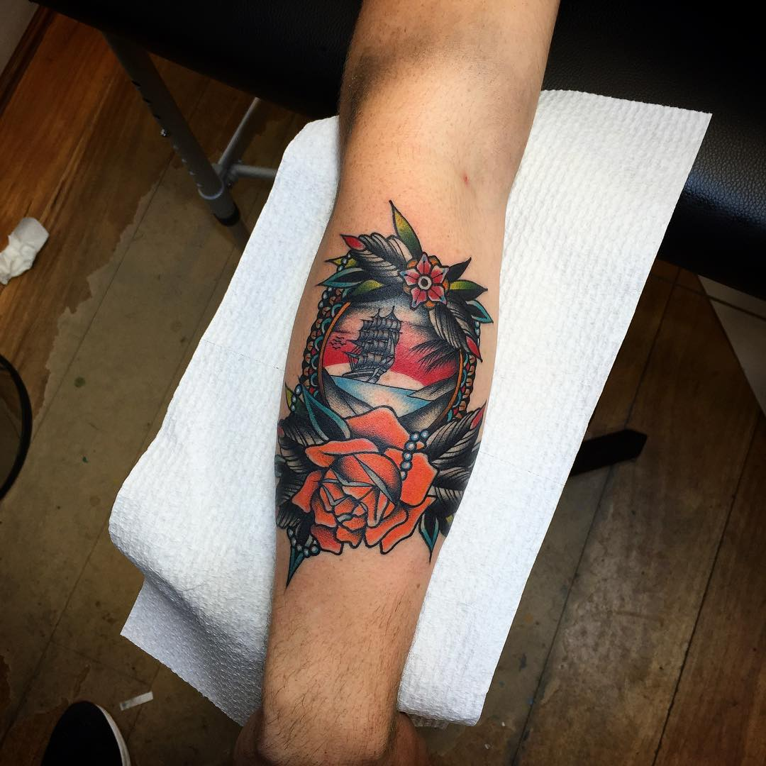 Ship and Rose Tattoo