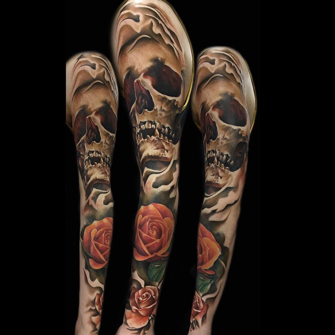 Skull and Roses Tattoo Sleeve