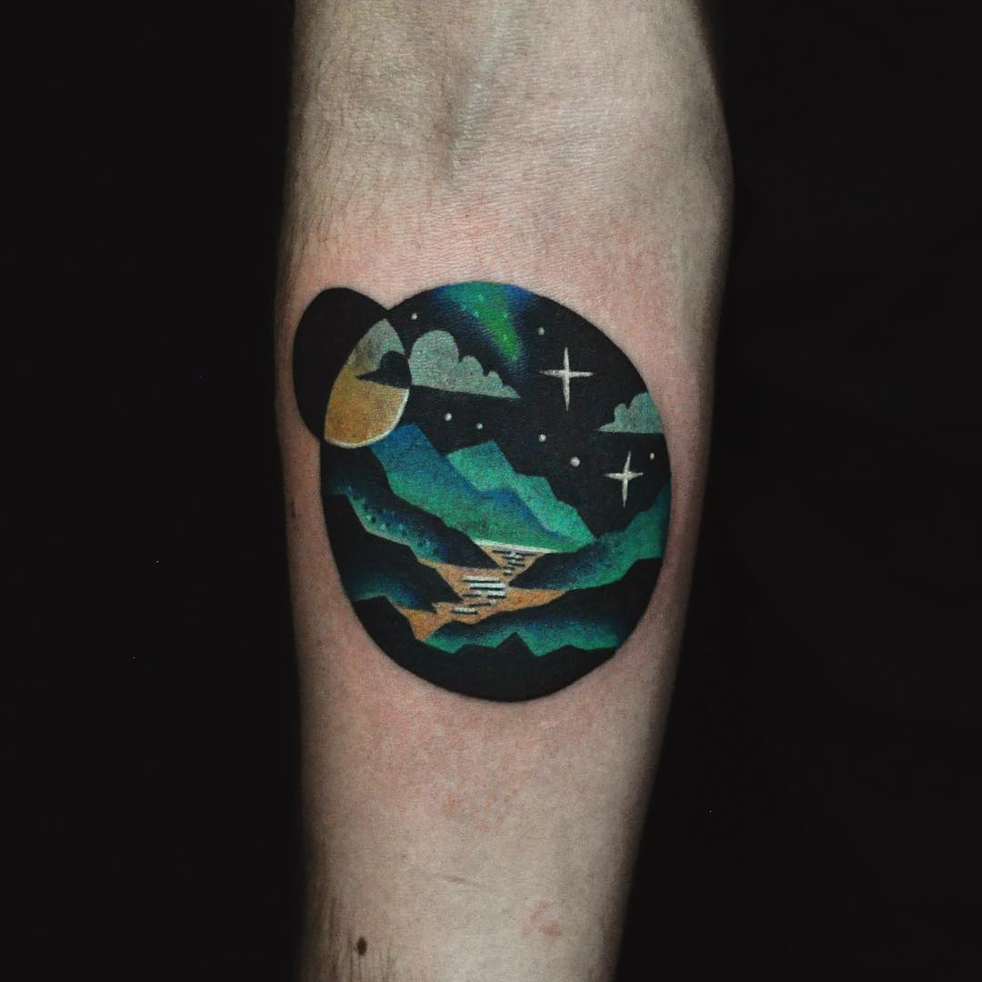 Small Mountain Landscape Tattoo on Arm