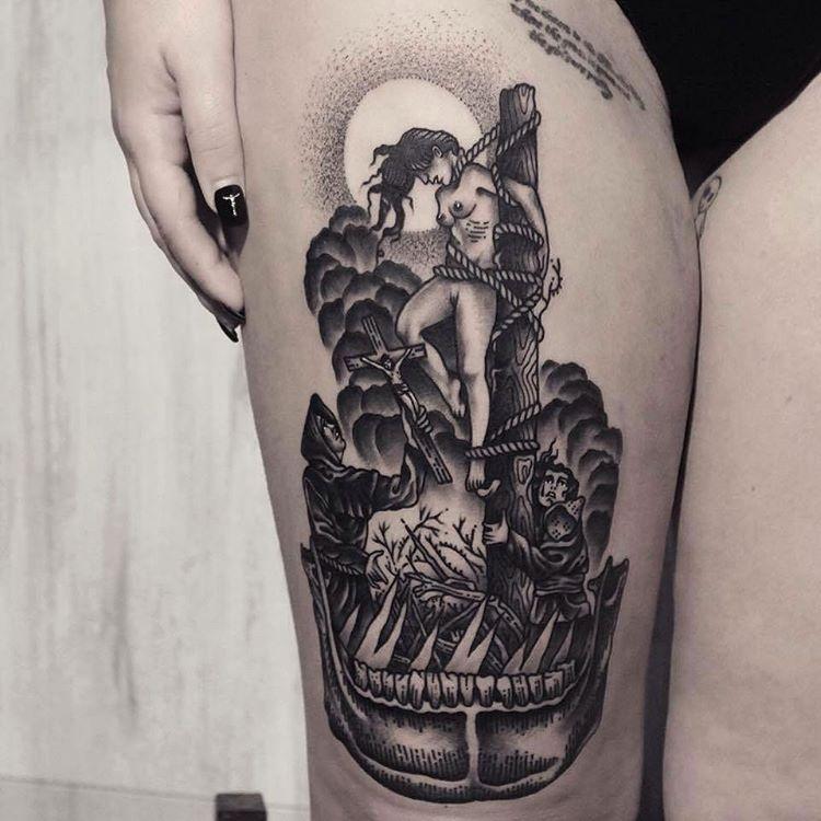 Inquisition Tattoo on Thigh