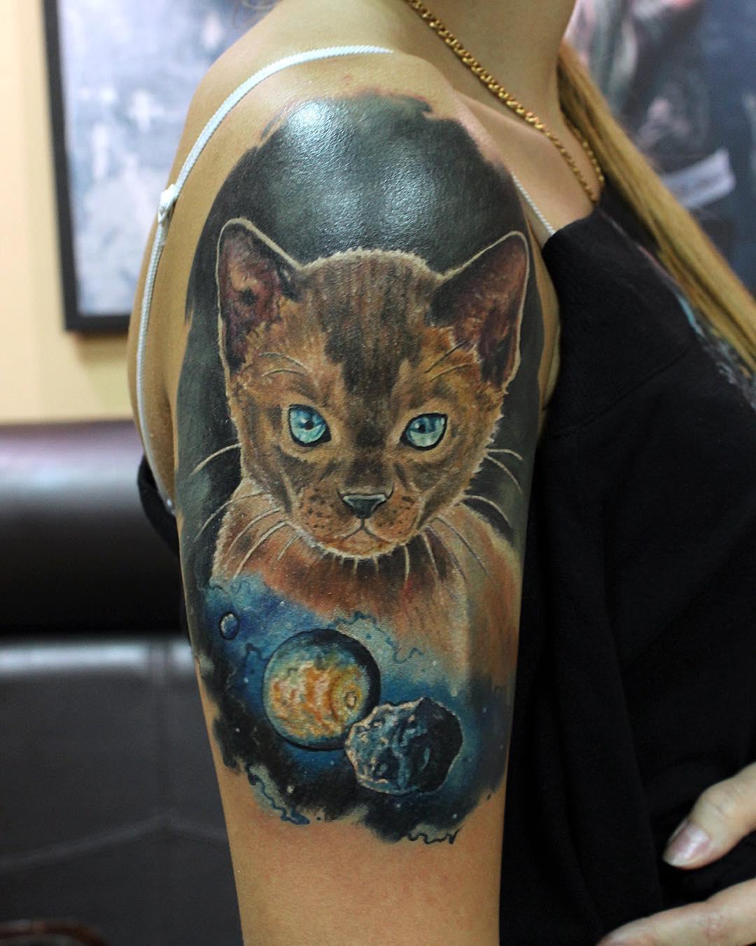 Open Space Cat Tattoo